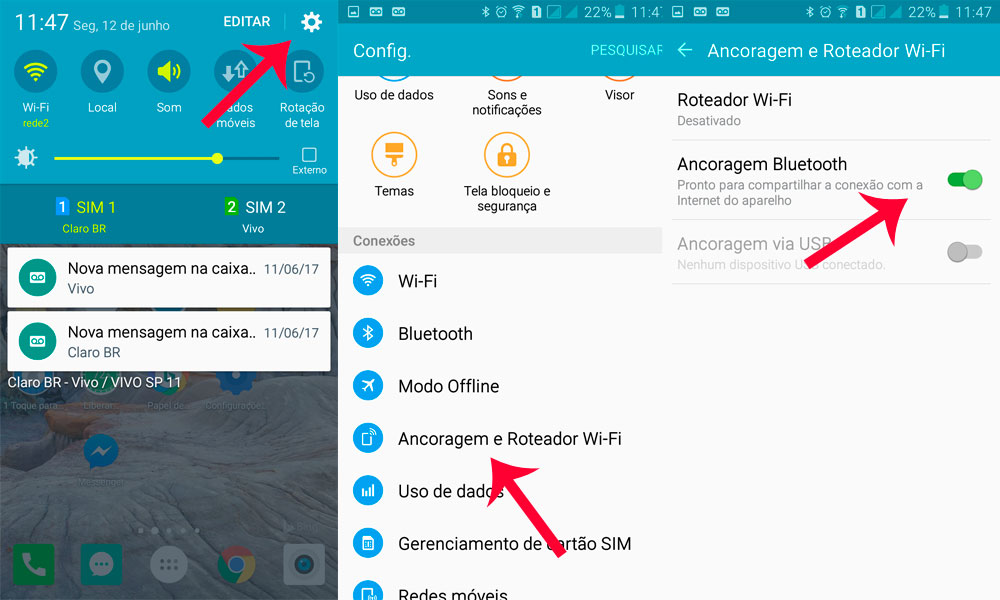 rotear internet wifi por bluetooth