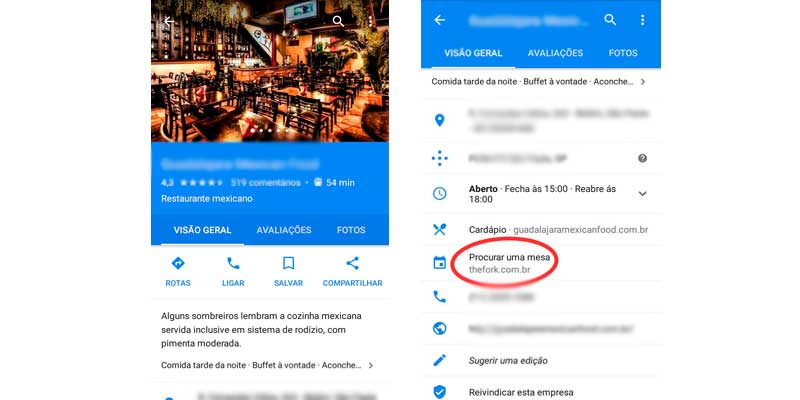 reservar restaurante no google maps
