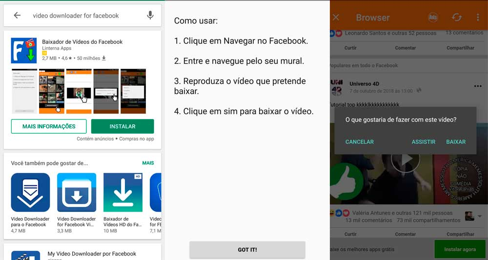 compartilhar videos do facebook no whatsapp