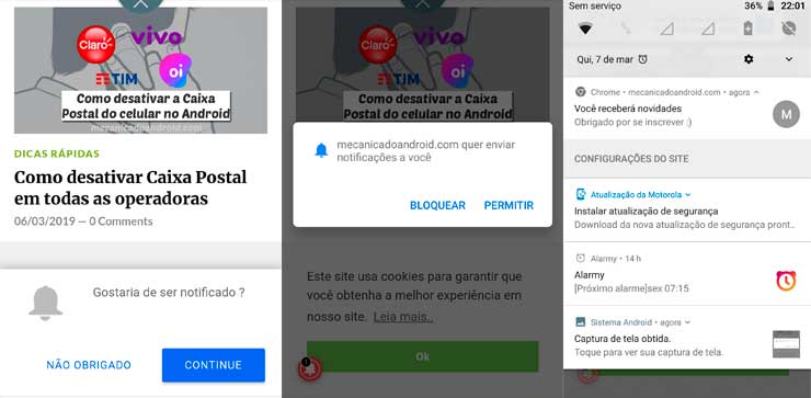 desativar notificações de sites